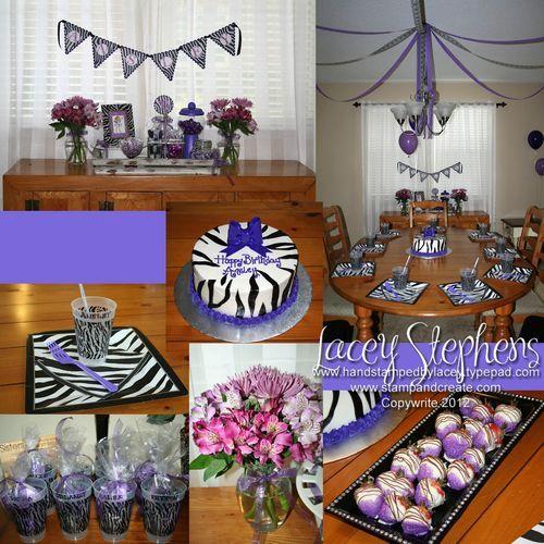 A Purple and Zebra themed birthday party Purple zebra Themed