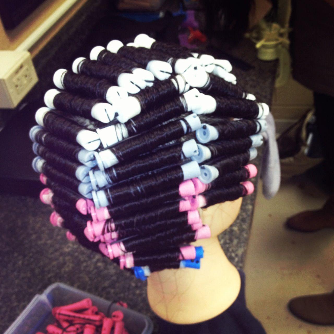 Perming basic wrap | Hair things /school | Permed ...