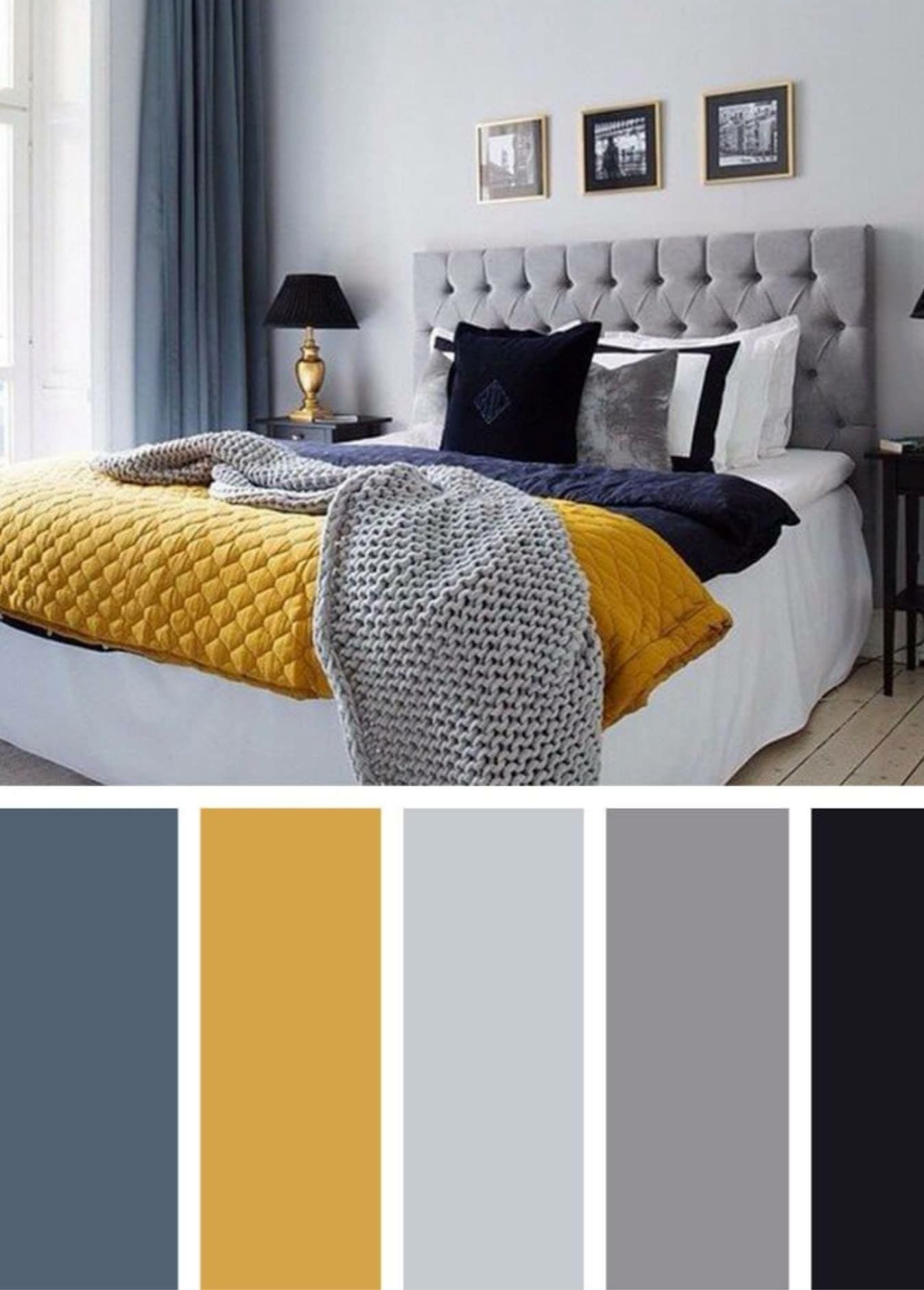 Blue, mustard, greys, Black.bedroom colours?  Yellow master