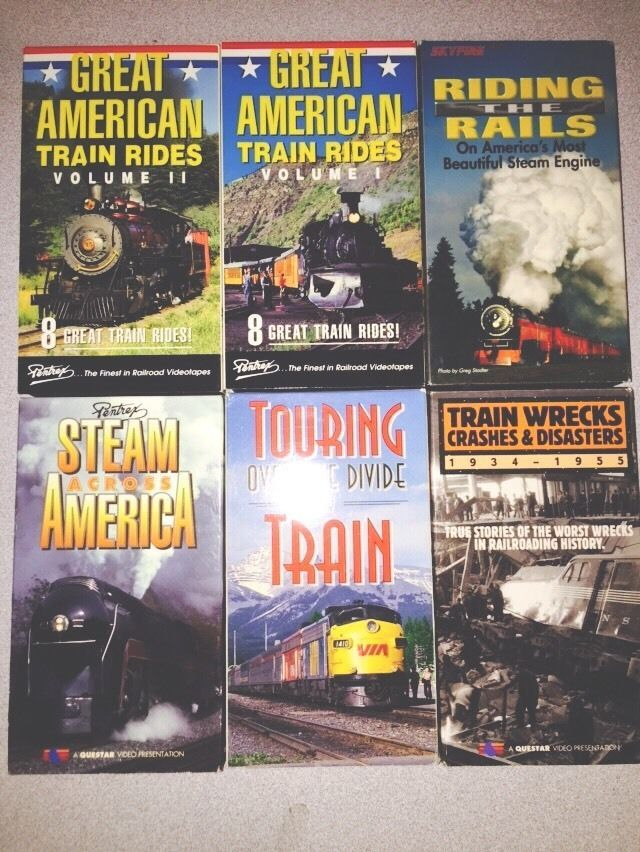 6 Vhs Tapes Movies Pentrex Great American Train Rides Steam Across Disasters