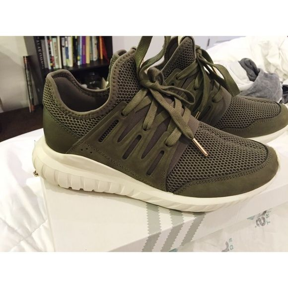 100% authentic 3c676 c6879 LIMITED EDITION Adidas Army green LIMITED EDITION adidas tubular radical-  womens shoe. Womens Size 7. Only worn once for very short time.