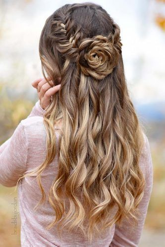 Boho Wedding Hairstyles Half Up Half Down With Flower Shaped Bun