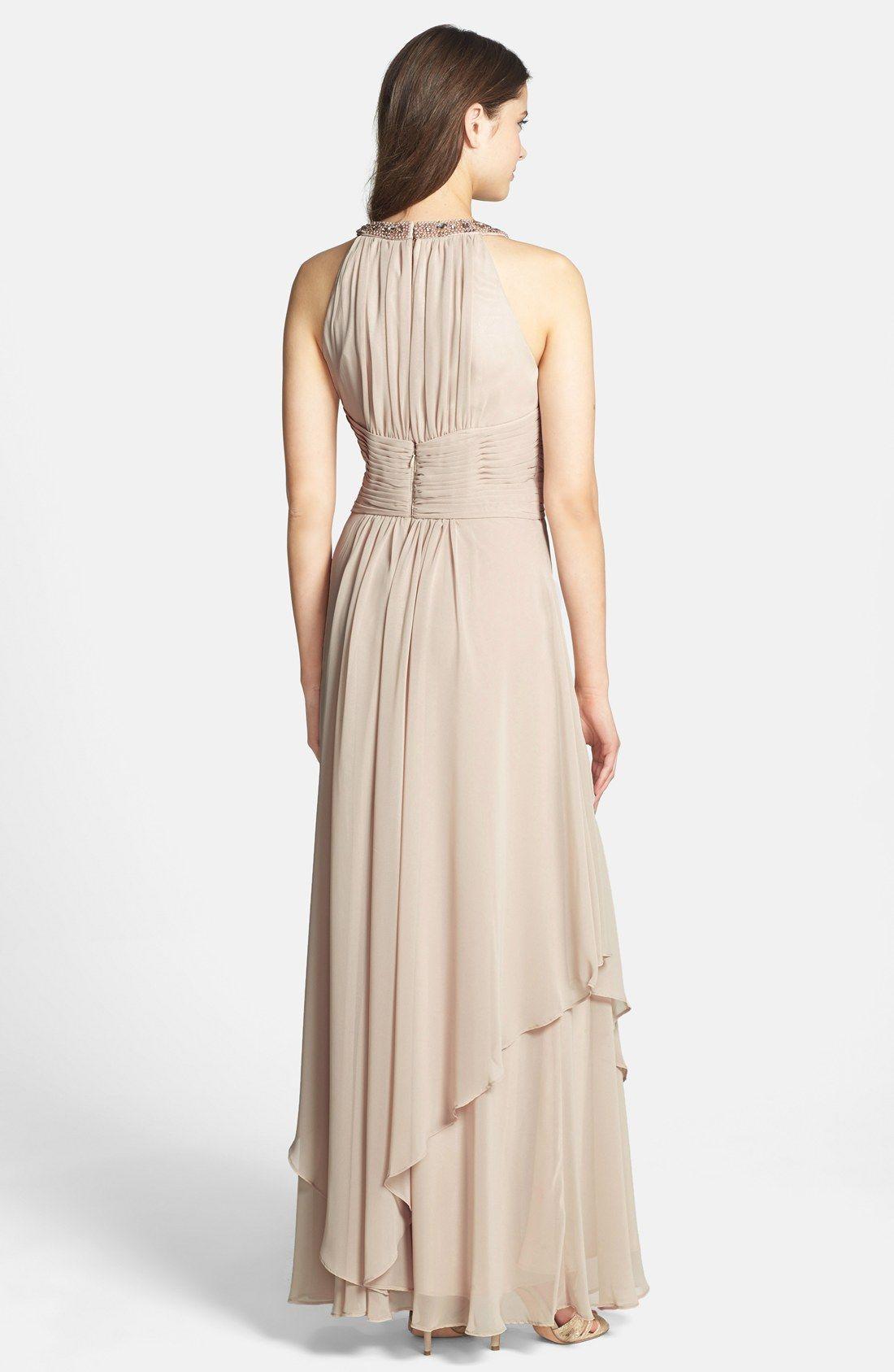 Eliza J Embellished Tiered Chiffon Halter Gown | Nordstrom | Stuff ...