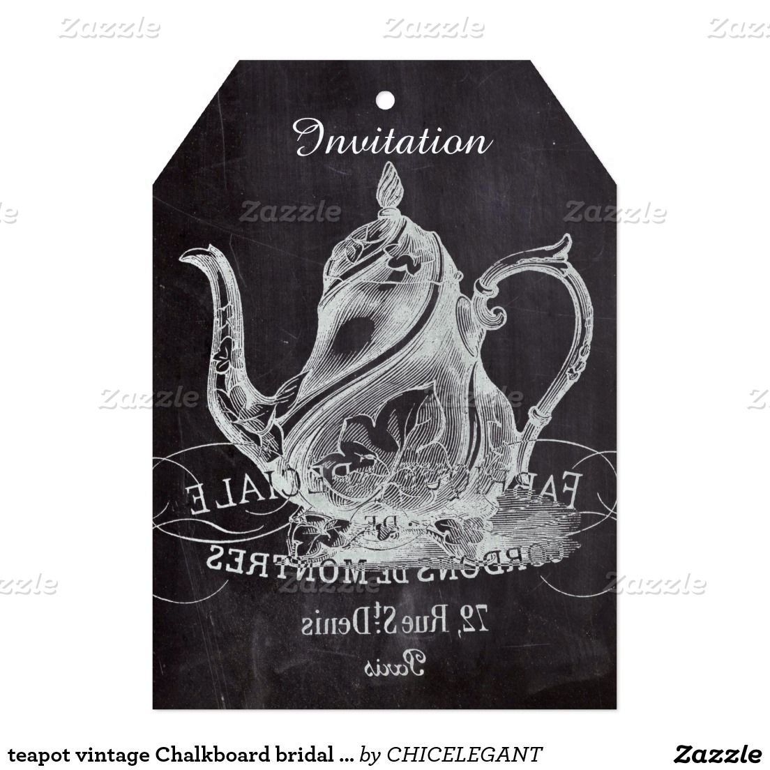 Paris Chalkboard scripts Tea party french country Card ...