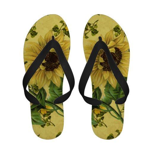 a9bb39820 Vintage Sunflower Flip Flops