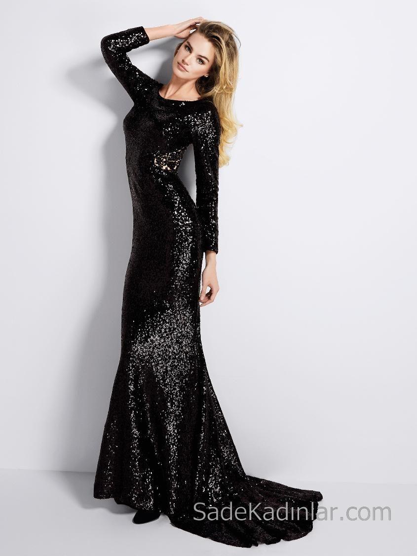 Pronovias 2018 Abiye Modelleri Siyah Uzun Balik Uzun Kollu Renkli Boncuk Islemeli Siyah Gelinlik Aksam Elbiseleri Elbise Modelleri