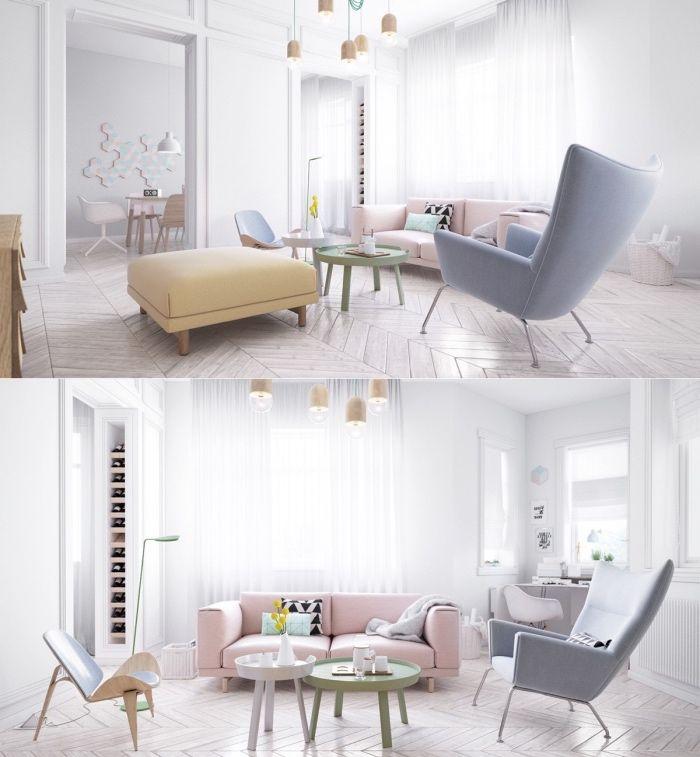 idée-comment-décorer-un-salon-scandinave-aux-tons-pastel-parquet ...