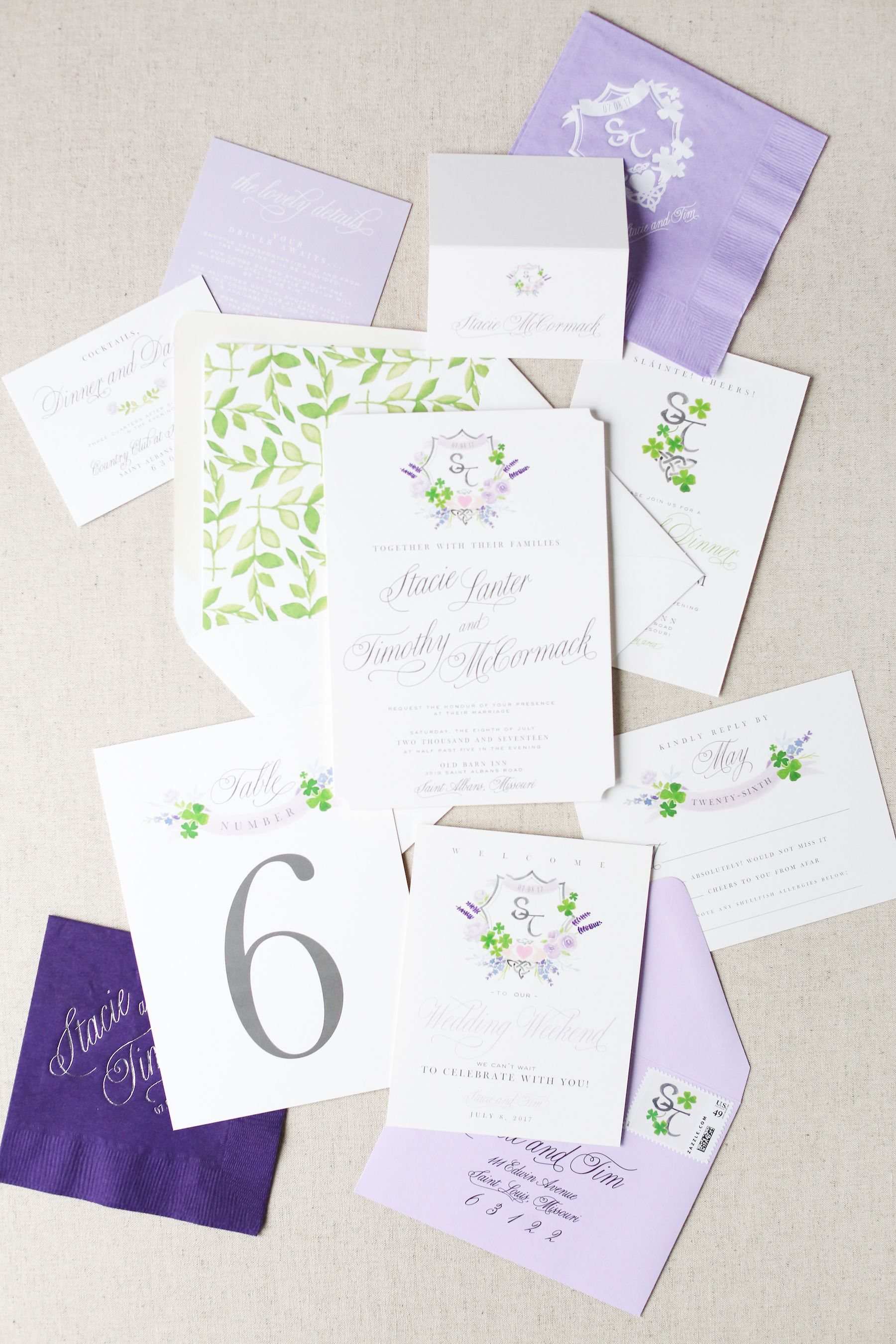 Irish Wedding Invitation | Watercolor Crest | Wedding Crest ...