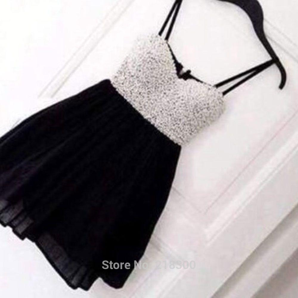 Silver sequin black short prom dresses spaghetti straps red