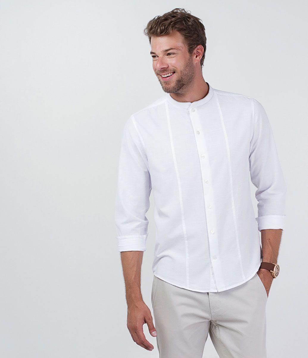 6a316c63ded Camisa masculina Manga longa Gola padre Modelo bata Marca  Marfinno Tecido   voal Modelo veste tamanho  M COLEÇÃO VERÃO 2016 Veja mais opções de camisas  ...