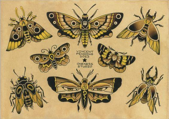 Moths Flash   Tattoo by Vincent Penning   Darko's Oneness