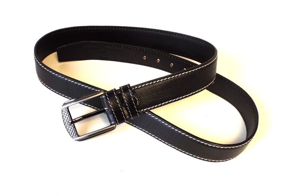MENS 1.5  REAL FULL GRAIN LEATHER BELTS BLACK BELT WITH SILVER BUCKLE