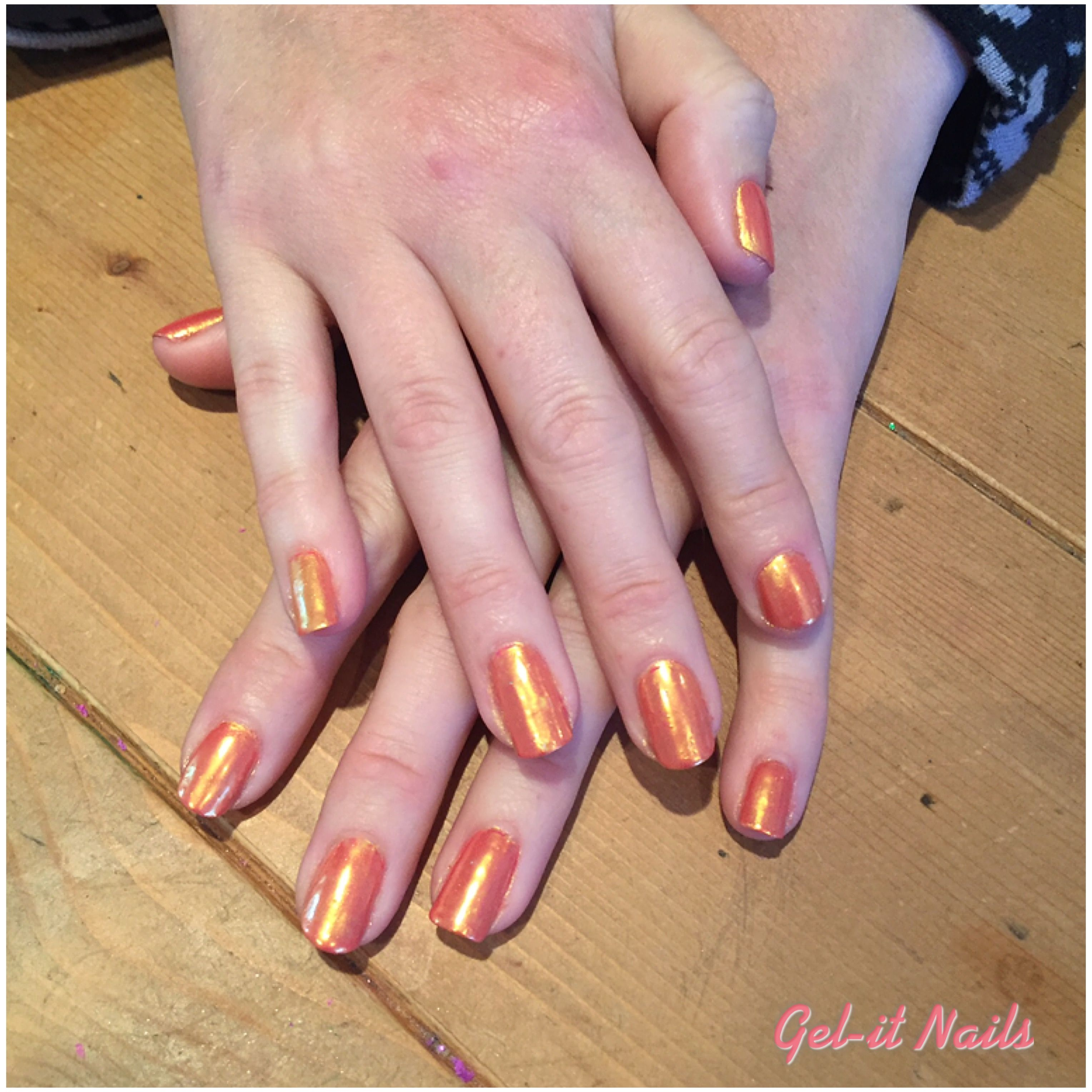 Gold chrome over Gelish \'passion\' | Nails by Gel-it Nails | Pinterest