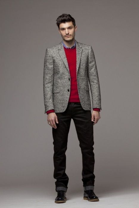 Men's Grey Wool Blazer, Red Cable Sweater, Blue Dress Shirt, Black ...