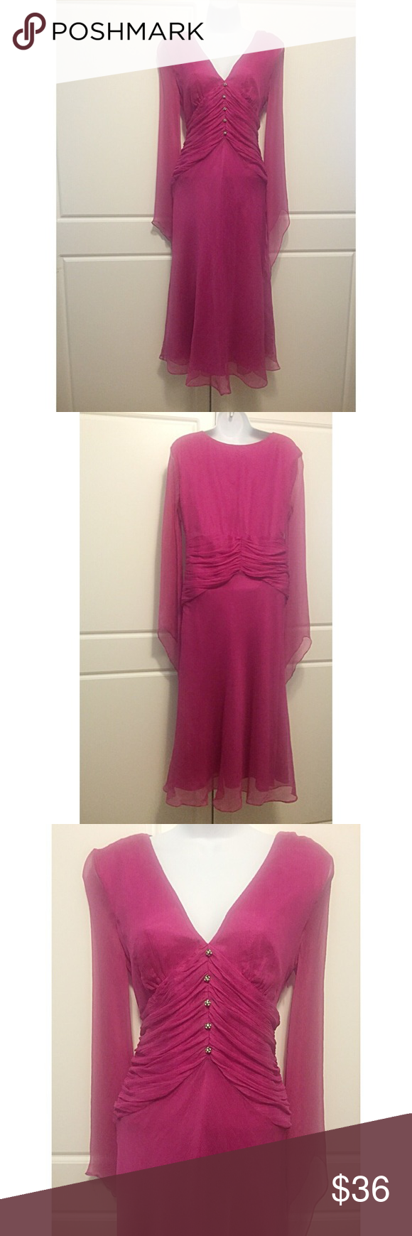 """Laundry Fuchsia Silk Chiffon Dress Lovely 100% silk chiffon dress in a stunning fuchsia. The dress is lined in polyester except the bell sleeves, which are semi-sheer. Ruched fabric draped below bust line. Rhinestone buttons down center. Hidden side zipper closure. Measures: bust 19"""", waist 15"""", hips 17"""", sleeves 32"""", across shoulders 16"""", length 46"""". New with tags and extra button. Laundry by Shelli Segal Dresses Midi"""