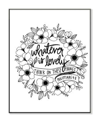Whatever Is Lovely Coloring Wall Art Large