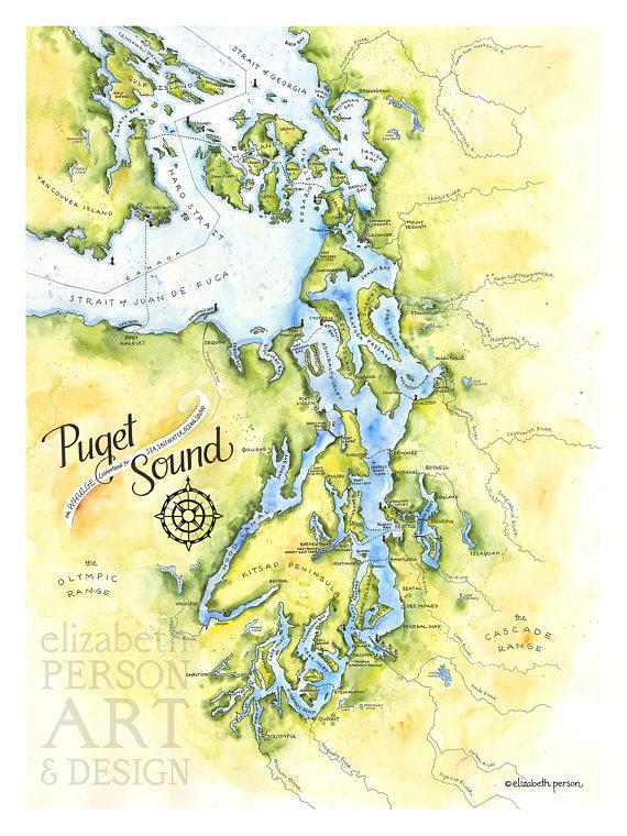 Puget Sound Map Watercolor Illustration Puget Sound Salish Sea