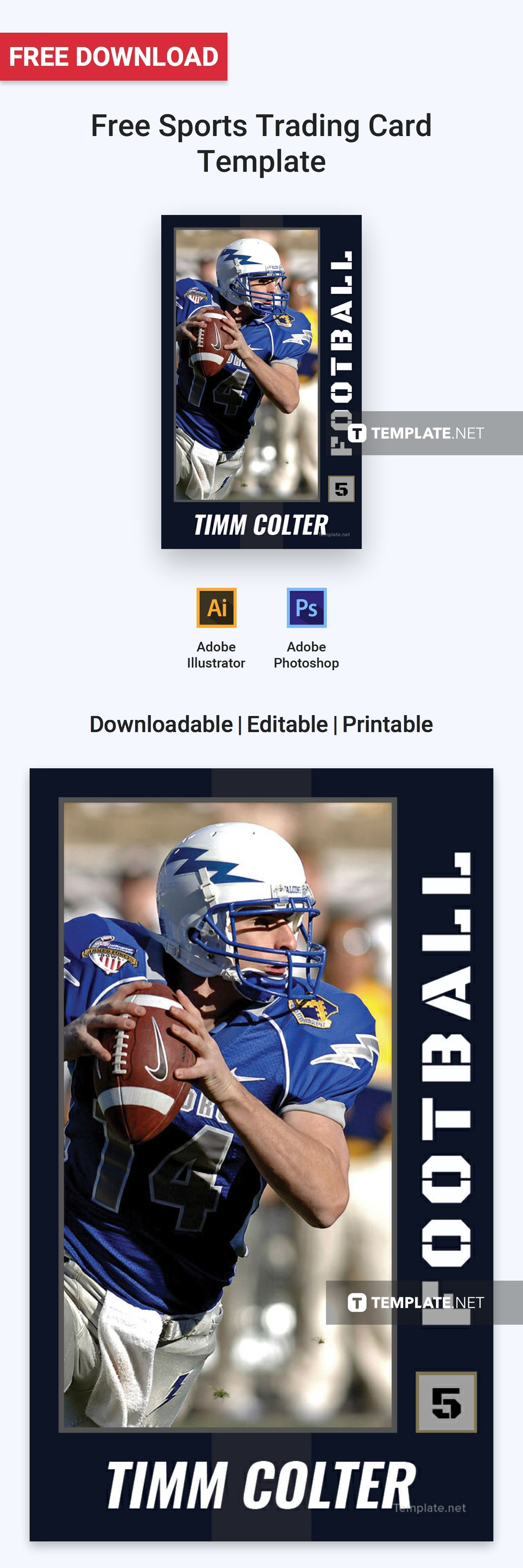 Sports Trading Card Template Free Pdf Word Psd Apple Pages Illustrator Publisher Trading Card Template Trading Cards Card Templates
