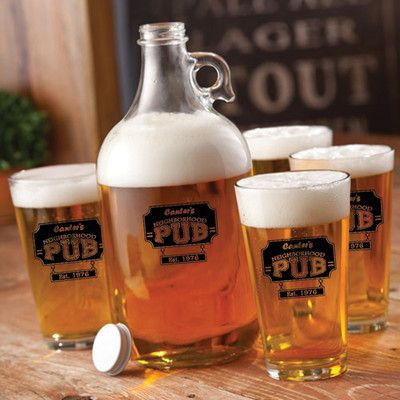 JDS Personalized Gifts Neighborhood Pub Personalized 5 Piece Glass Beer Growler and Pint Glass Set
