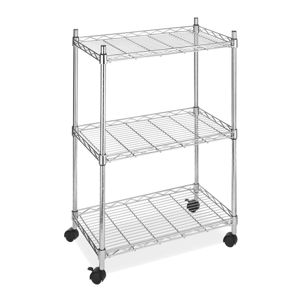 3 Tier Wire Utility Cart Rolling Shelving Storage Rack Steel Metal Kitchen Home Whitmor