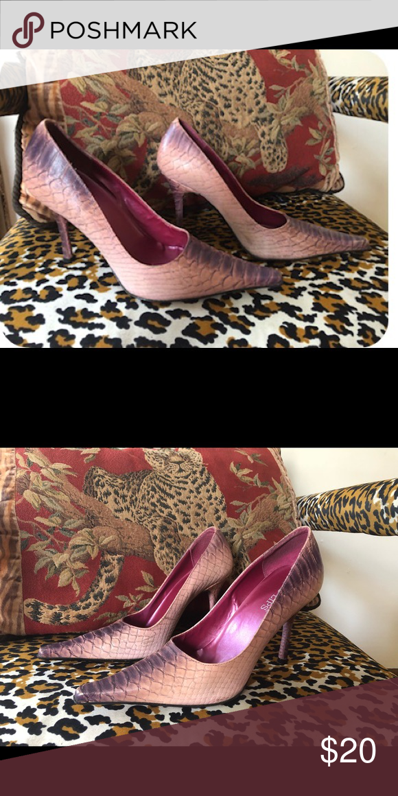 7cfbde03409 Two Lips Purple and Pink heels. Purple and Pink Crocodile style pump ...
