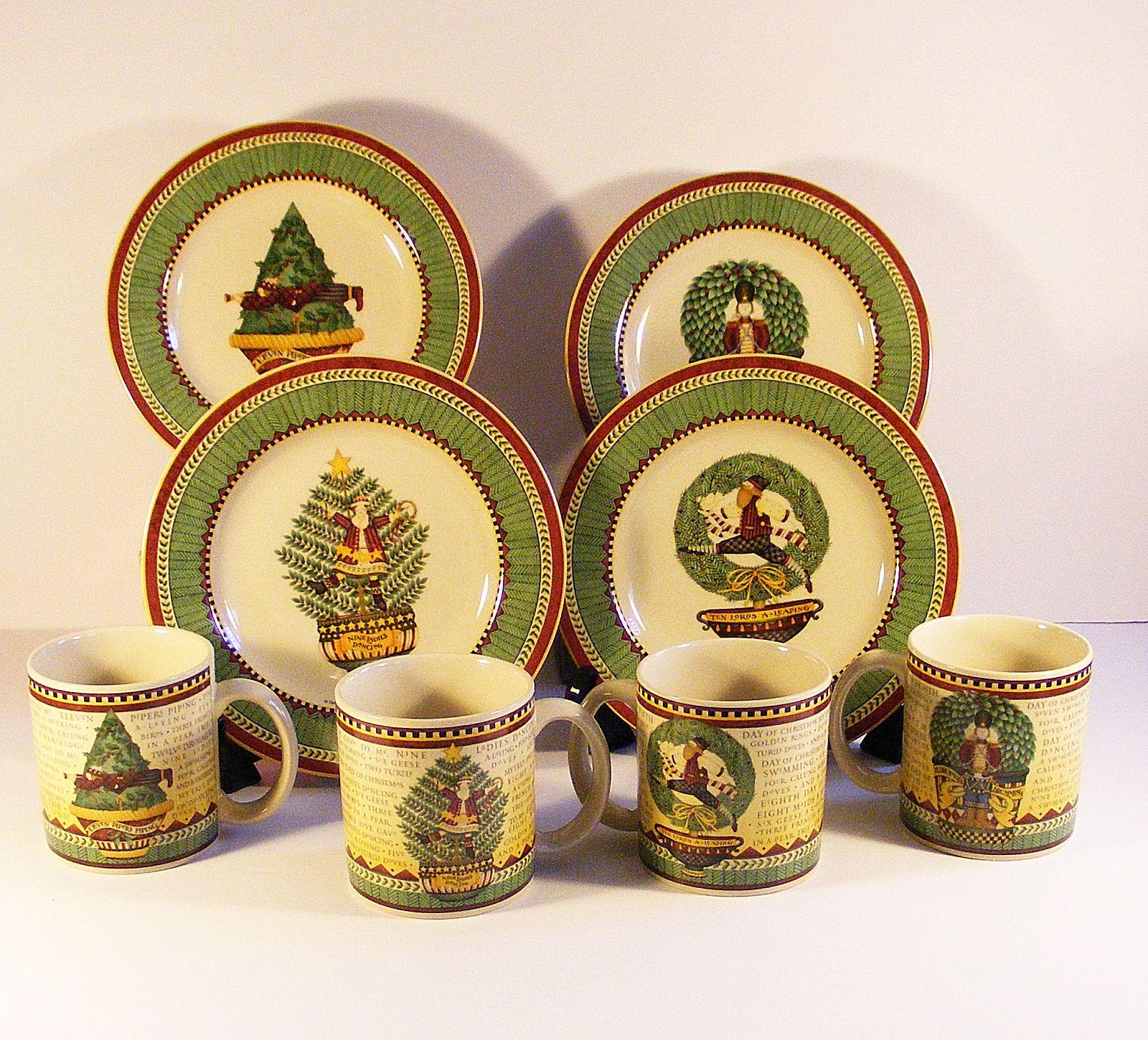 Debbie Mumm Sakura 12 Days Of Christmas Mugs \u0026 Dessert Plates 8 Pc Set  & Debbie Mumm Sakura 12 Days Of Christmas Mugs \u0026 Dessert Plates 8 Pc ...