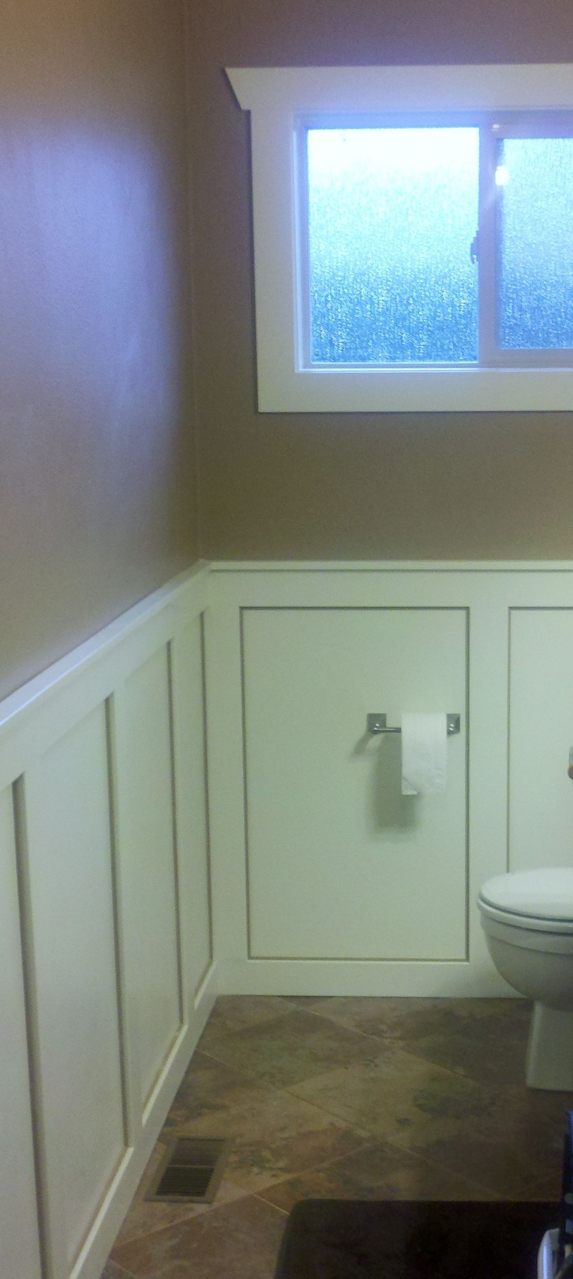 Bathroom remodel project wainscoting made a very tunnel like