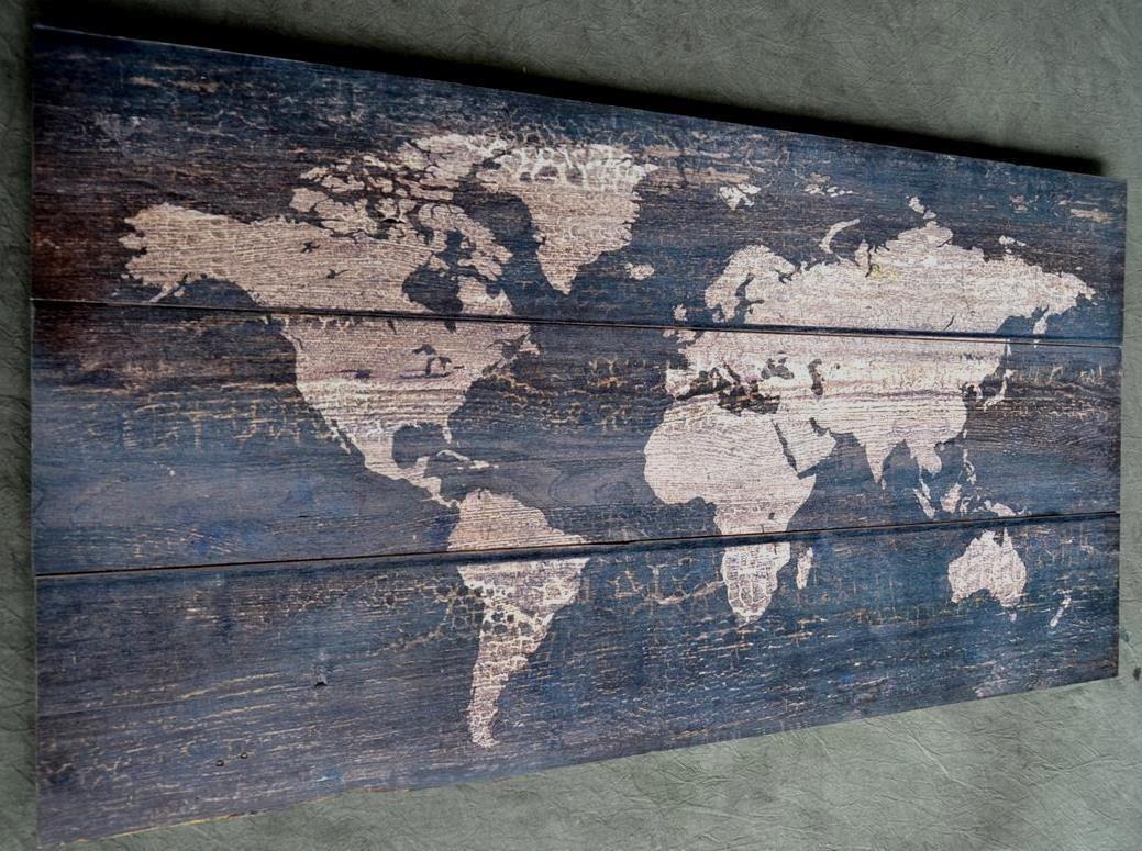 Holzbild Wandbild Bild Weltkarte Holz Vintage Shabby Chic 100 X 50 Alt Mehr