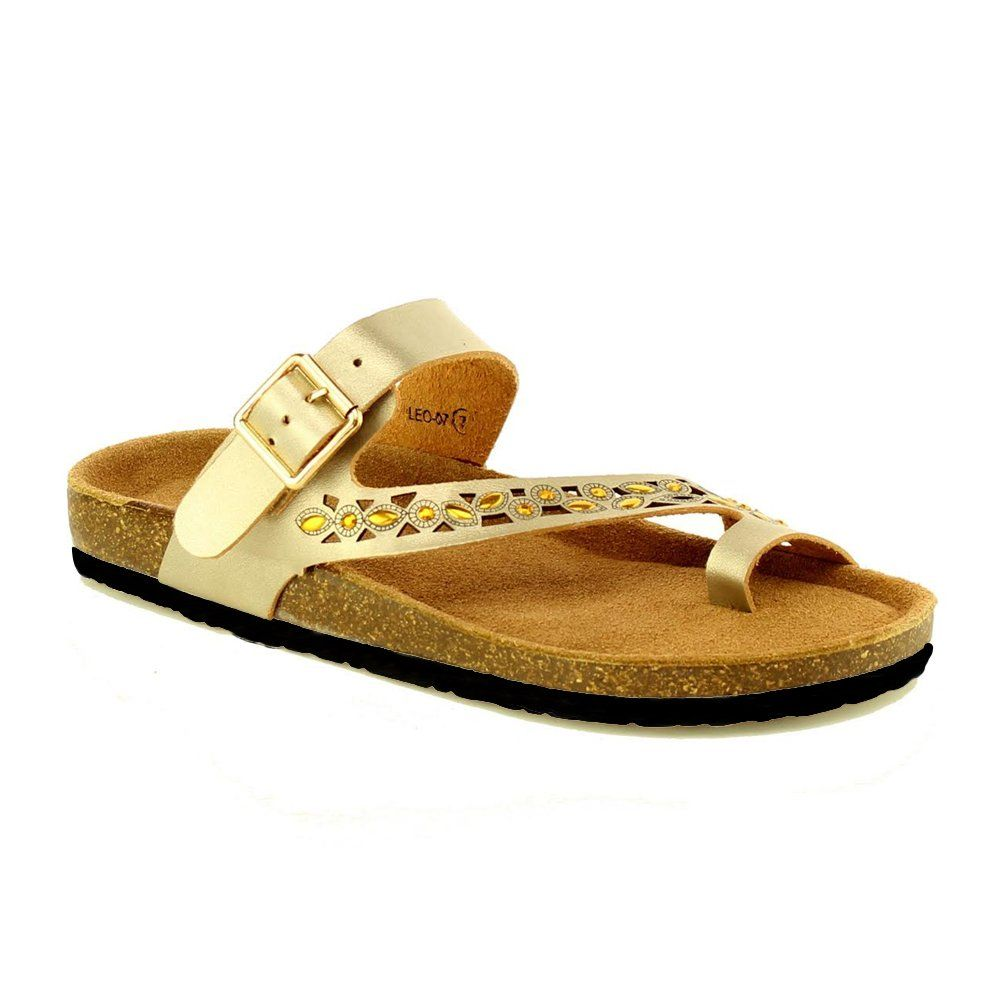 0d5c2f4f0f06 Women s Casual Cut Out Ring Toe Rhinestone Sandals Thong Flip Flop Sandals  Cork Slides Slippers Champagne