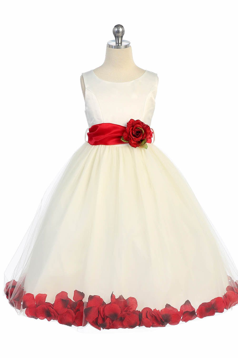 d62add8984f Ivory Red Satin   Tulle Petal Flower Girl Dress with Sash   Flower ...
