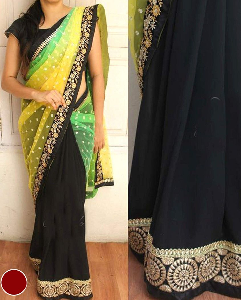 Yellow colour saree images  yellow green and black half and half shaded sari  embroidered