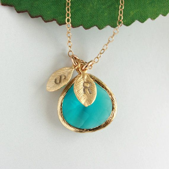 Initial necklace, Personalized necklace, Blue glass stone in gold bezel hangs with intial leaves, engraved necklace, initial necklace. $36.00, via Etsy.