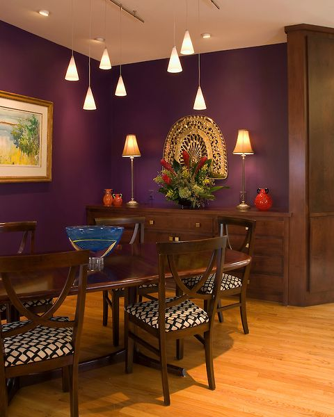 Purple walls pendant lights rich brown wood table and for Dining room ideas purple