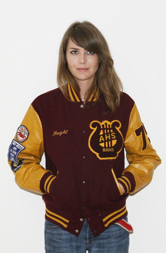 13a8d6ec56ed 70s Varsity Bomber Jacket High School Band Letter Jacket Golden ...