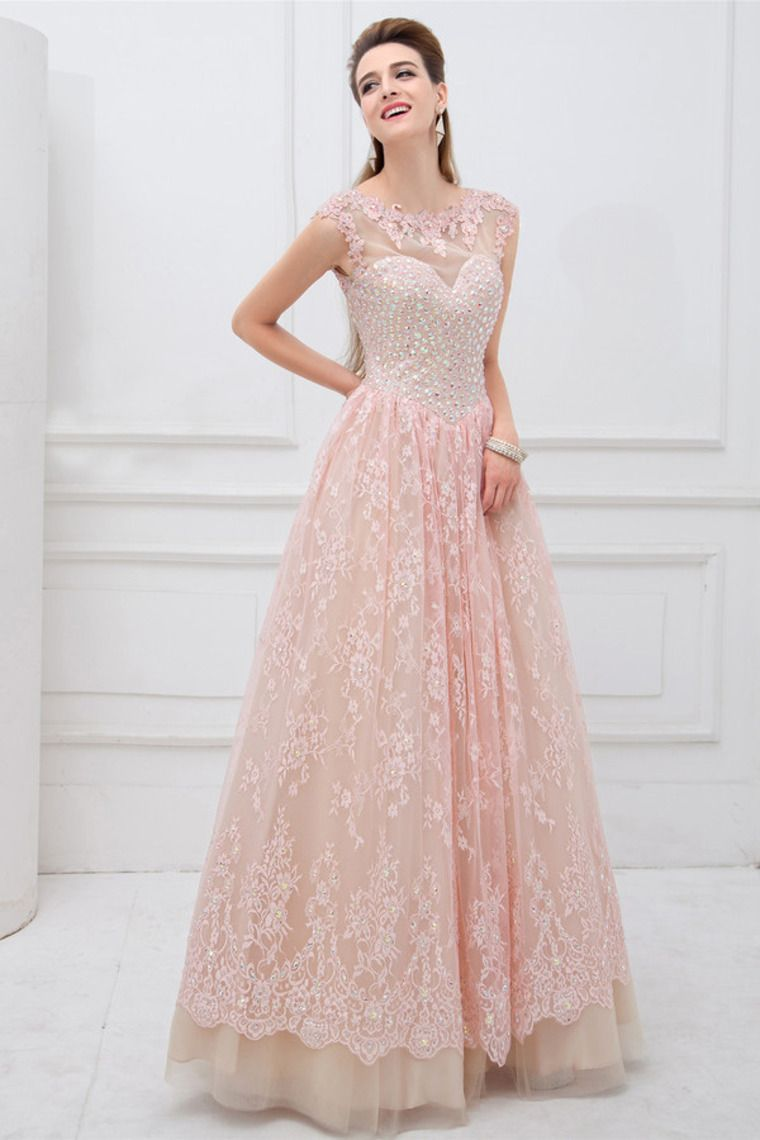 2014 Scoop Neckline Open Back A Line Tulle And Lace Prom Dress ...