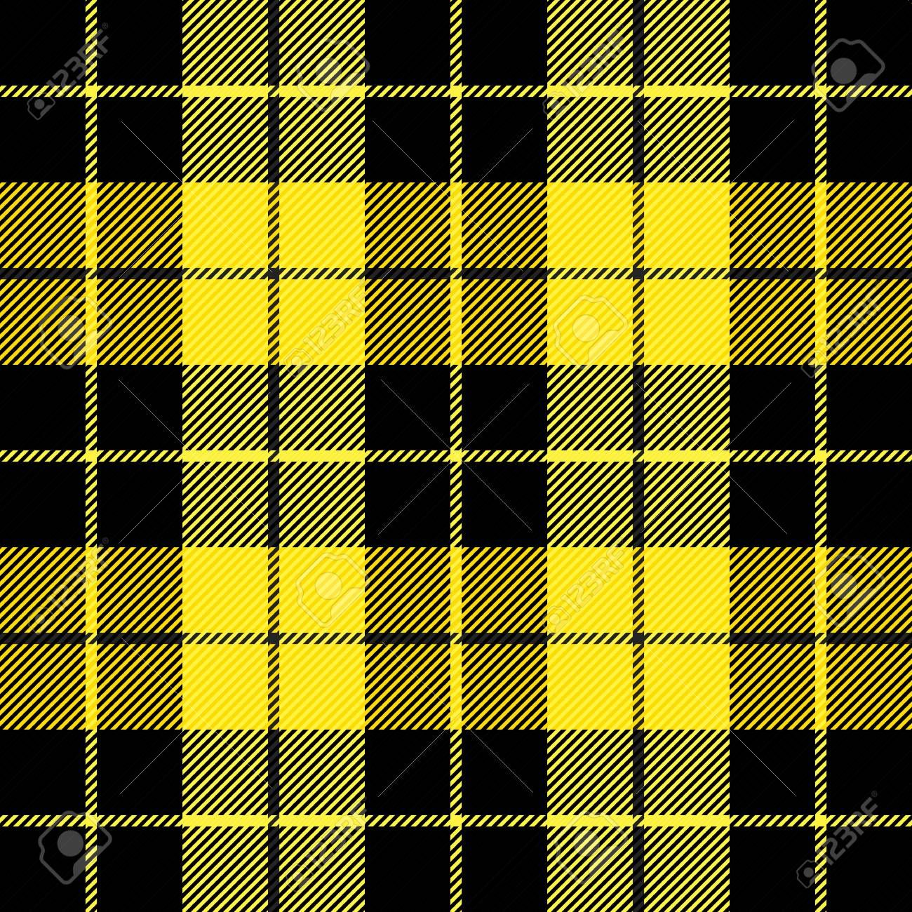 Wallace tartan plaid. Scottish pattern in black and yellow