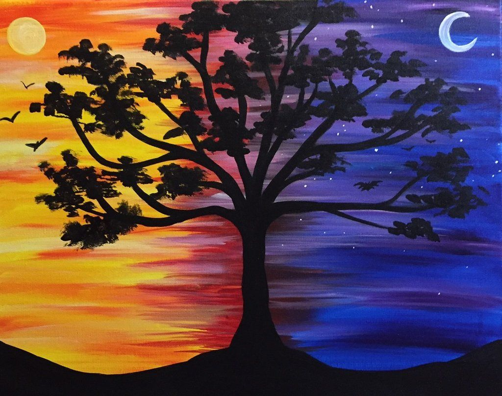 Trees In 2020 Moonlight Painting Shadow Painting Cute Canvas