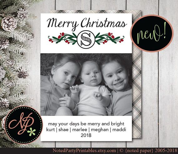 Printable Christmas Photo Card Diy Christmas Card Photo