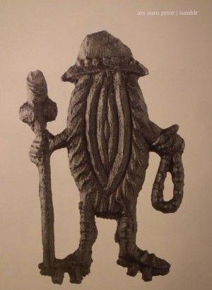 Vulva on stilts pilgrimage aptropaic protective badge to ward off