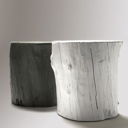 these funky hollow cast concrete tree stumps make fabulous outdoor