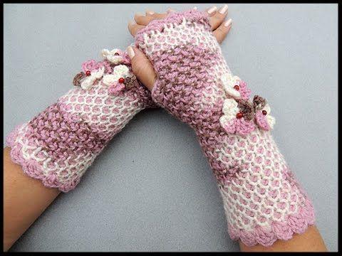 Crochet Tunecino : Guante sin dedos o mitones en redondo. Parte 1 de ...