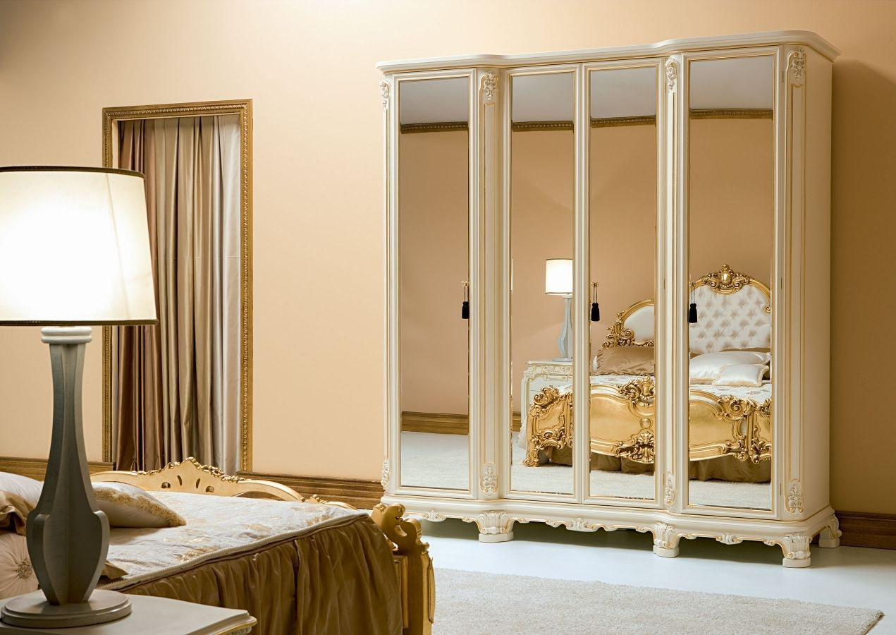 Bedroom wardrobe designs - Mirror Closet Doors Furniture Charming Small Classic Style Bedroom Wardrobe Design With Mirror Laminate Doors In