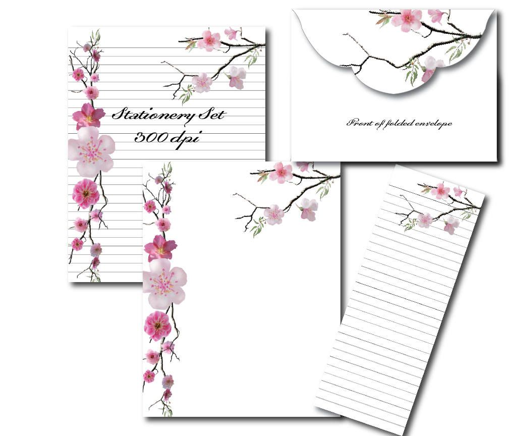 Cherry Blossom Digital Paper Pink Stationery Paper Printable