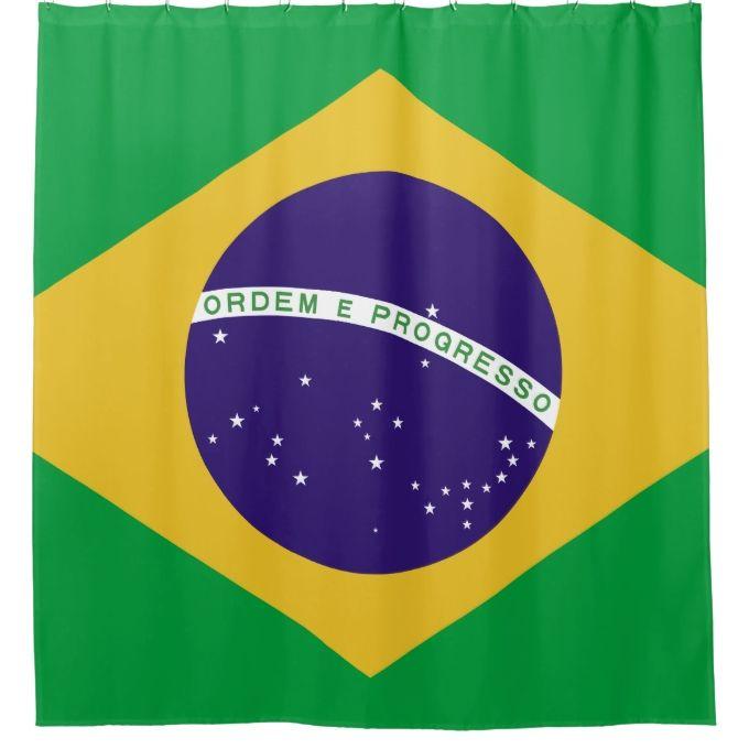 Brazil Flag Bandeira Do Brasil Shower Curtain Zazzle Com With