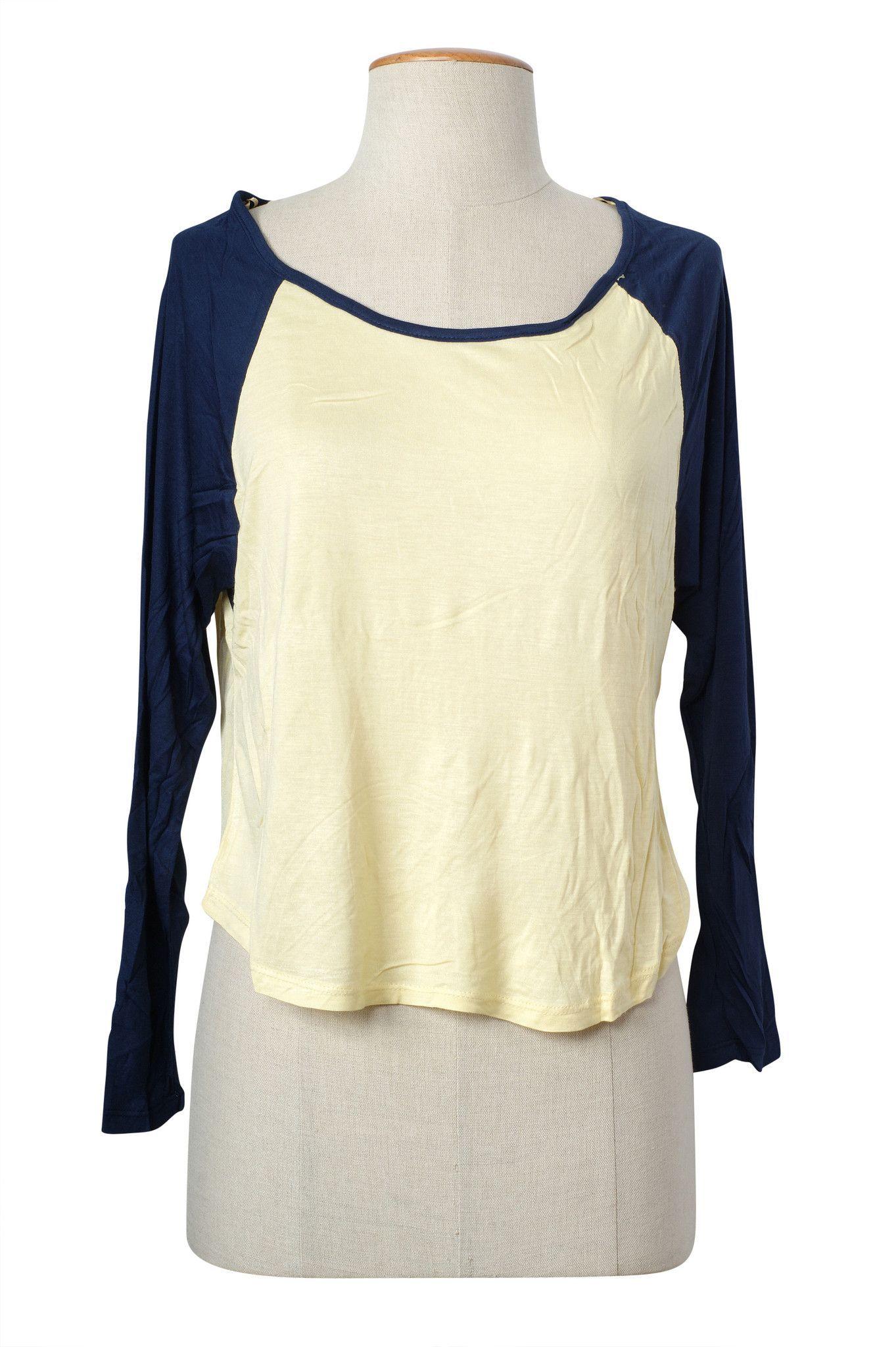 Casual Color Block Scoop Neck Raglan Long Sleeve Cropped Tee Shirt Top