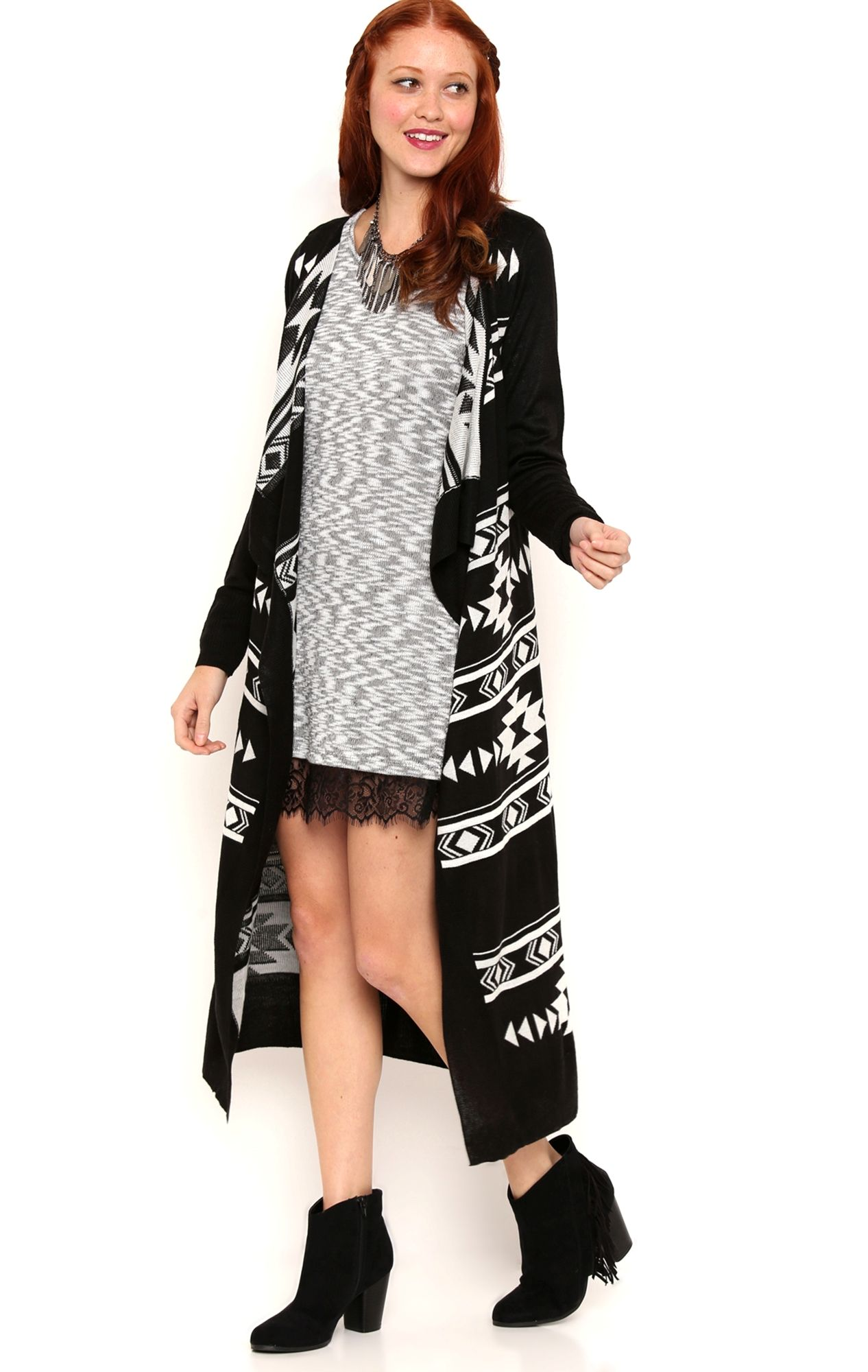Deb Shops Navajo Aztec Print Long Sleeve Duster Sweater with ...