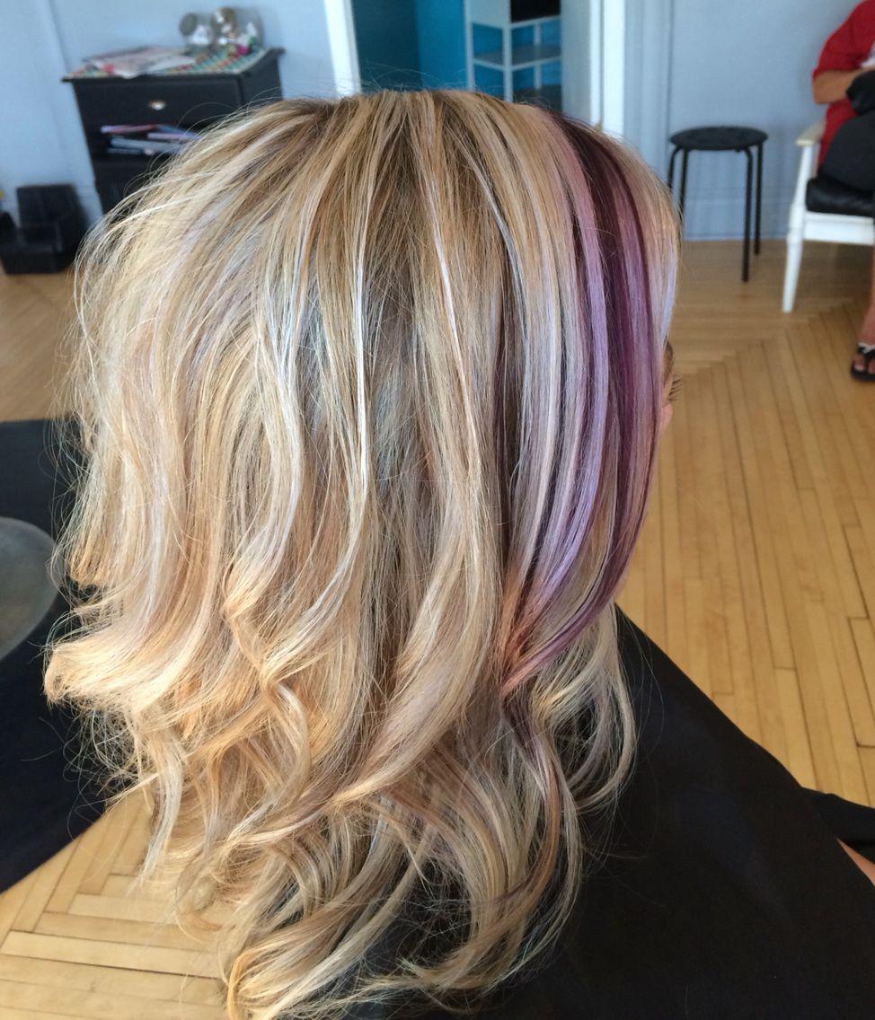 Ash Blonde With Purple Streak Purple Hair Streaks Hair Streaks Blonde Hair With Purple Streaks