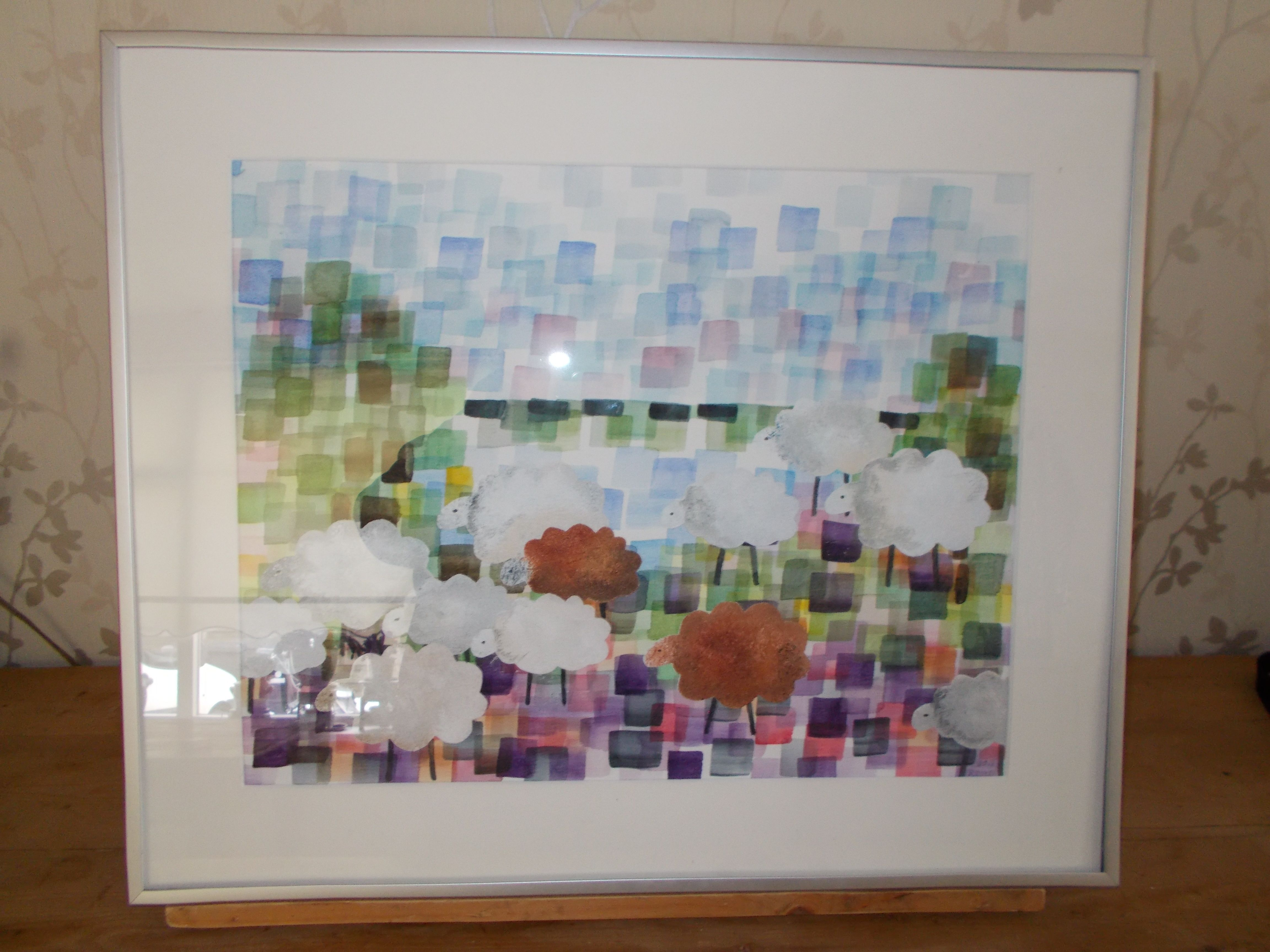 schapen in aquarel en acryl. afm. 50x60. incl. aluminium lijst te koop voor 125 euro
