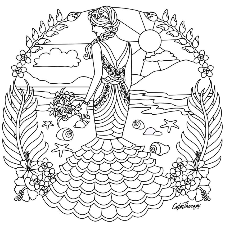Fashion colouring page  Fairy coloring pages, Coloring pages