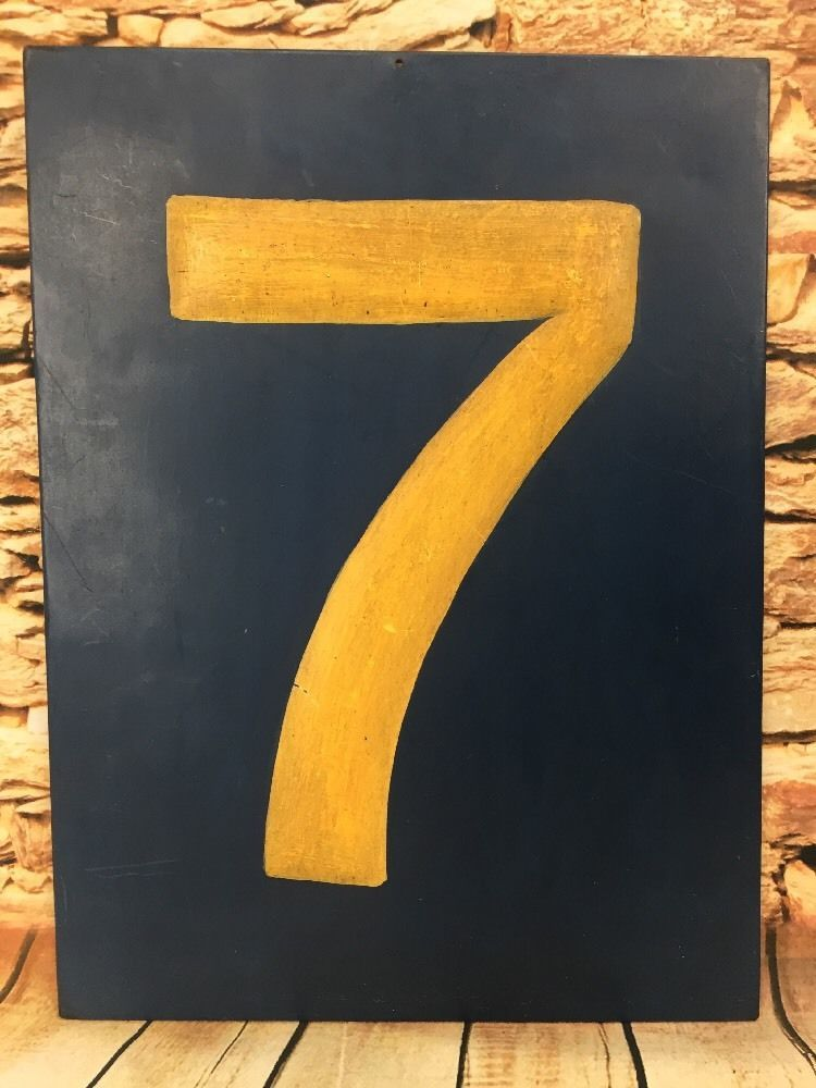 ANTHROPOLOGIE Metal Plaque Sign Lucky Number Numeral 7 Blue ...